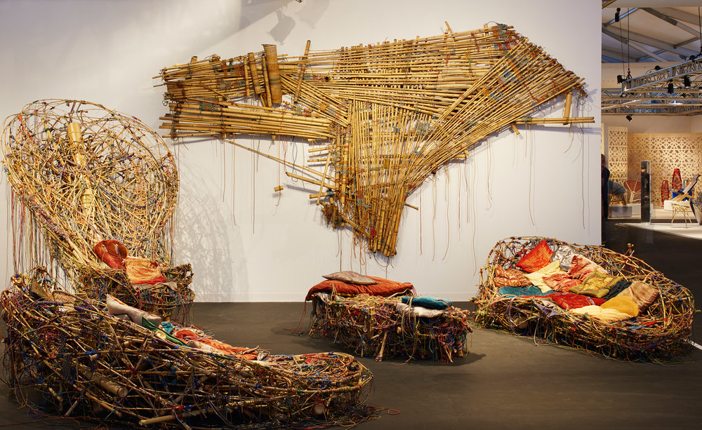The sculptural works of brothers Mike and Doug Starn adorned Cristina Grajales Gallery's booth at the fair this year. The conceptual furniture designs were made up of an interlacing bamboo and rock-climbing rope.