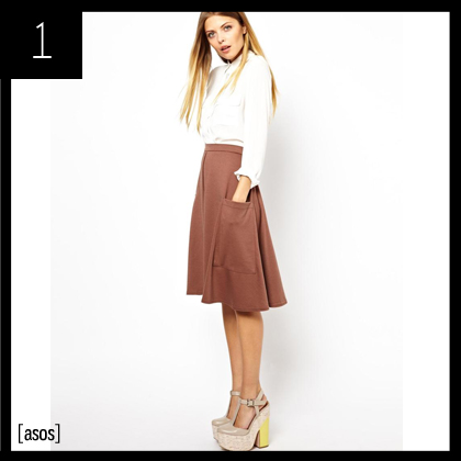 1 ASOS Midi Skirt in Ponte with Pocket Detail
