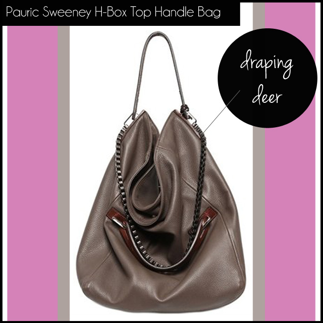 1 Pauric Sweeney H-Box Leather Deerskin Effect Top Handle
