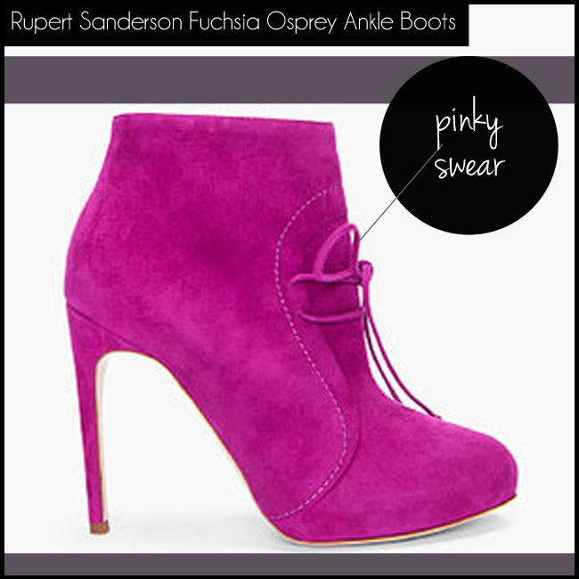 1 Rupert Sanderson Fuchsia Osprey Suede Ankle Boots