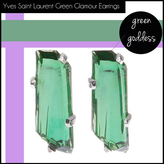 1 Yves Saint Laurent Vintage Green Glamour Earrings