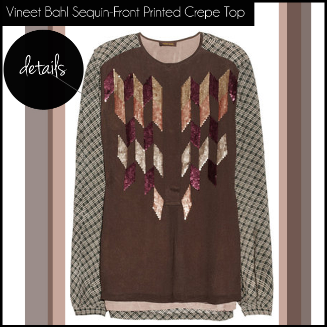 1 Vineet Bahl Sequin-Front Printed Crepe Top