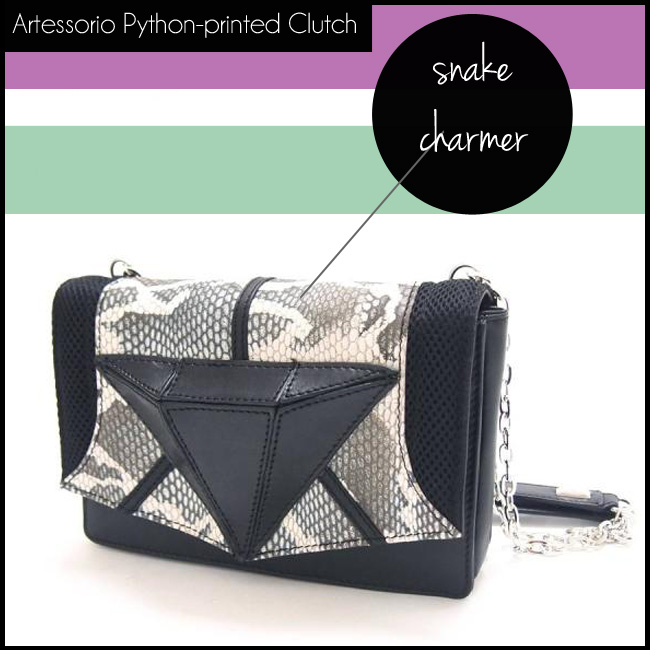 shop the Artessorio Python-printed Construction Leather Clutch