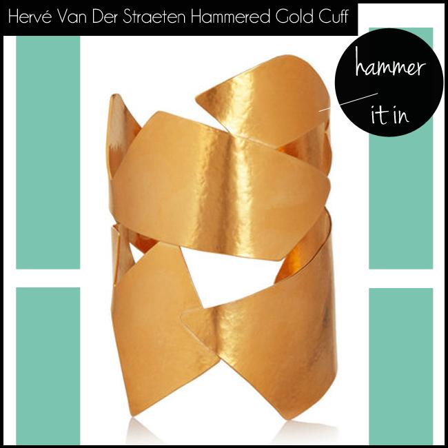 2 Hervé Van Der Straeten Hammered Gold Plated Cuff