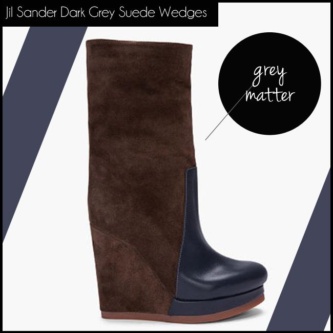2 Jil Sander Dark Grey Suede Wedges