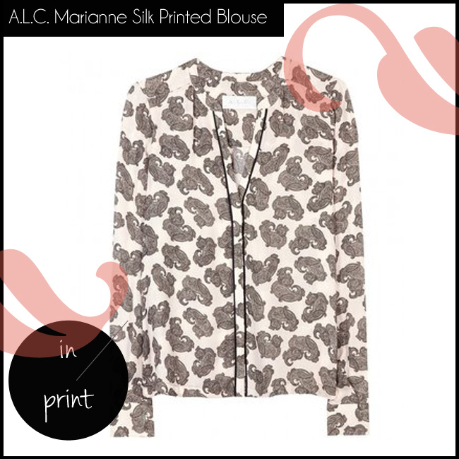 shop the A.L.C. Marianne Silk Printed Blouse