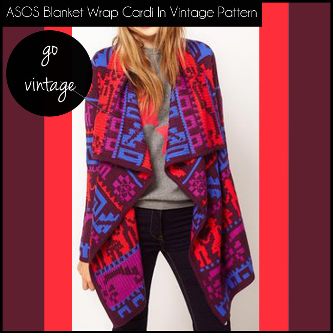 3 ASOS Blanket Wrap Cardi In Vintage Pattern