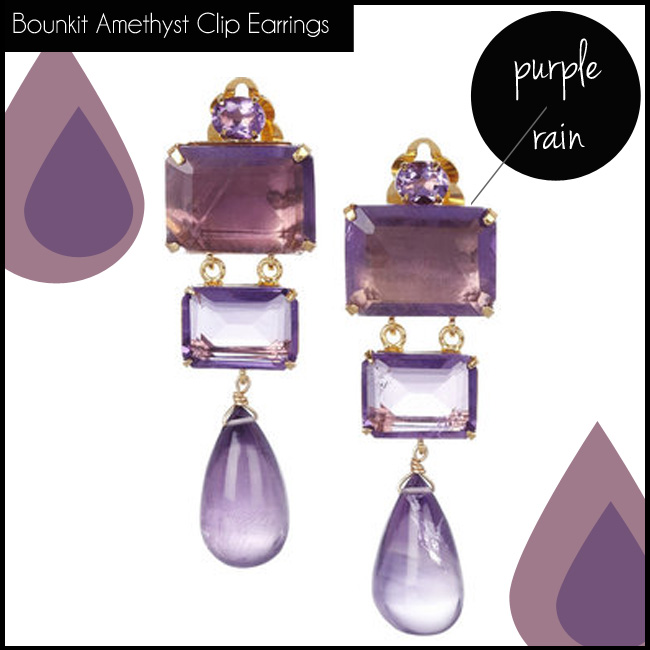 3 Bounkit Amethyst Clip Earrings