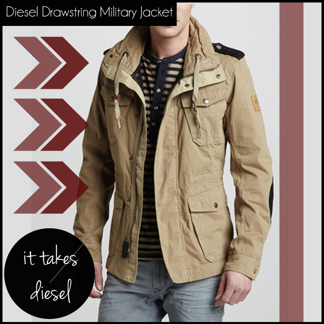 3 Diesel Drawstring Military Jacket