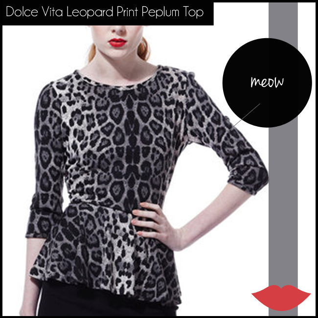 3 Dolce Vita Three-Quarter Sleeve Leopard Print Peplum Top