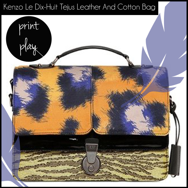 3 Kenzo Le Dix-Huit Tejus Leather And Cotton Bag