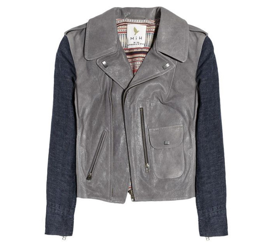 shop the MiH Jeans Denim-sleeved leather biker jacket