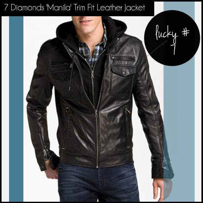 4 7 Diamonds 'Manila' Trim Fit Leather Jacket