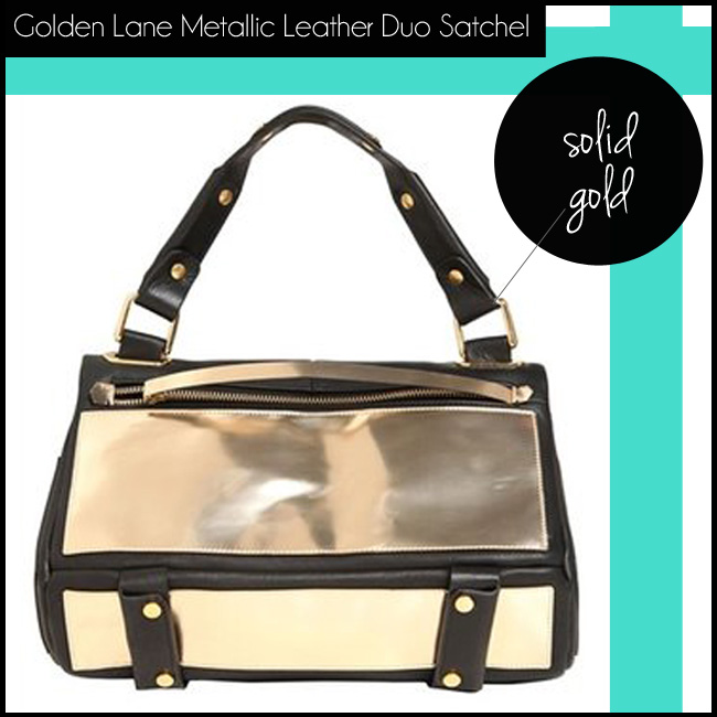 4 Golden Lane Metallic Leather Duo Satchel