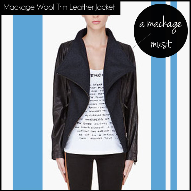 4 Mackage Black Wool Trim Leather Jacket