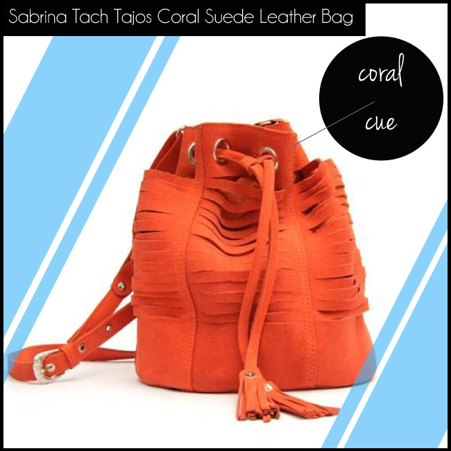 4 Sabrina Tach Tajos Coral Suede Leather Bag