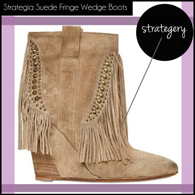 4 Strategia Suede Fringe Wedge Boots