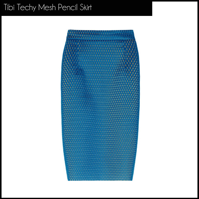 4 Tibi Techy Mesh Pencil Skirt