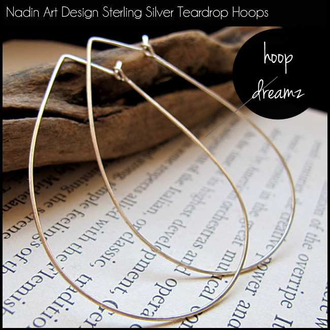 5 Nadin Art Design Sterling Silver Teardrop Hoops