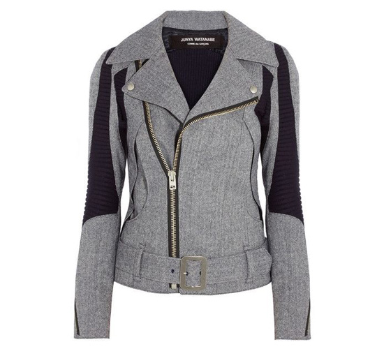 shop the Junya Watanabe Herringbone wool-blend biker jacket