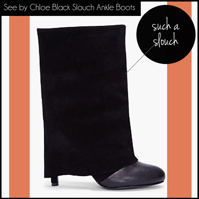 6 See by Chloe Black Suede Slouch Ankle Boots
