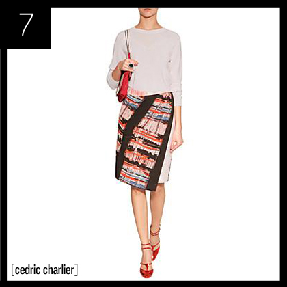7 Cedric Charlier Bone-Multi Printed Skirt