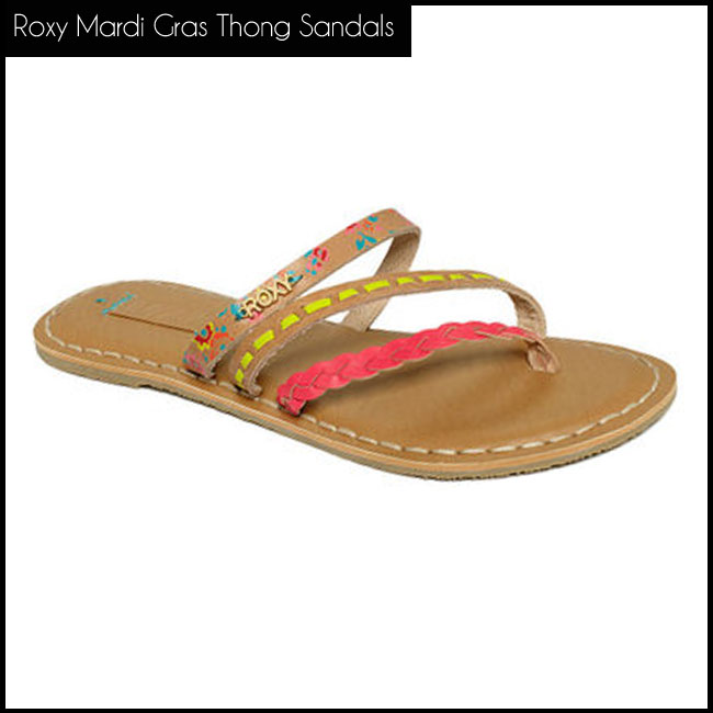 7 Roxy Shoes, Mardi Gras Thong Sandals