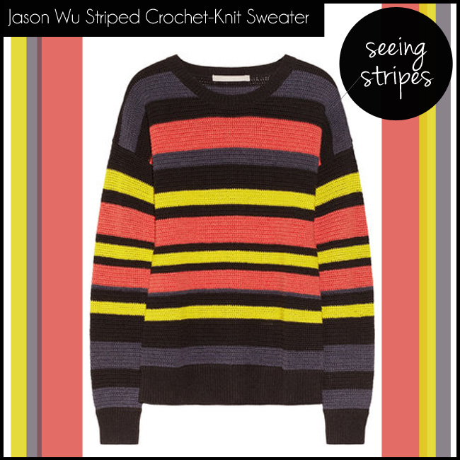 Jason Wu Striped Crochet-Knit Cotton-Blend Sweater