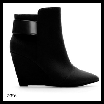 Zara Black Wedge Ankle Boot