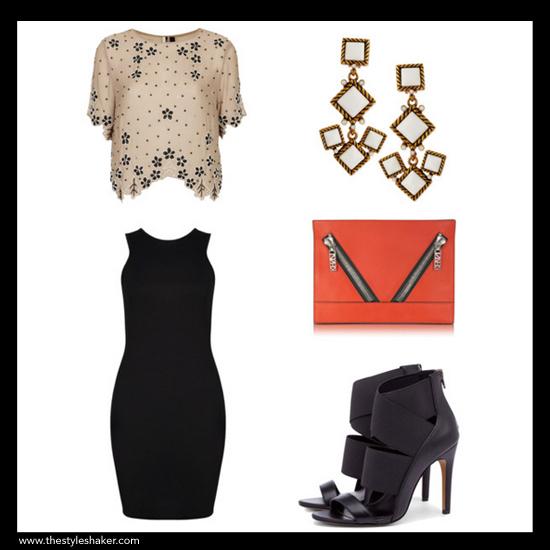 LINKS:tee:www.topshop.com | dress: www.boohoo.com | earring: www.neimanmarcus.com | clutch: www.forzieri.com | sandal: www.solesociety.com