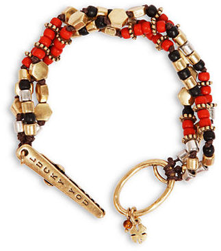 LUCKY BRAND Two-Tone & Tiger-Eye Triple Strand Bracelet