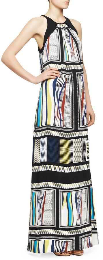 Diane von Furstenberg Jordan Halter Glass Scarf-Print Maxi Dress