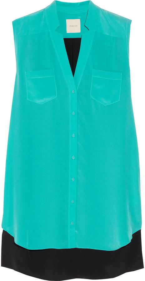 Mason by Michelle Mason Color-block silk-crepe shift dress