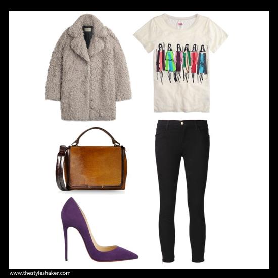 sources:1. coat: stylebop.com,2. bag: thecorner.com,3. pump: barneys.com,4. tee: j.crew.com,5. jeans: farfetch.com