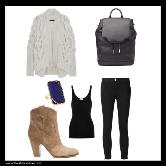 sources: 1. cardigan: net-a-porter.com, 2. boot: forwardforward.com, 3. ring: neimanmarcus.com, 4. tank: net-a-porter.com, 5. backpack: stylebop.com, 6. jeans: farfetch.com