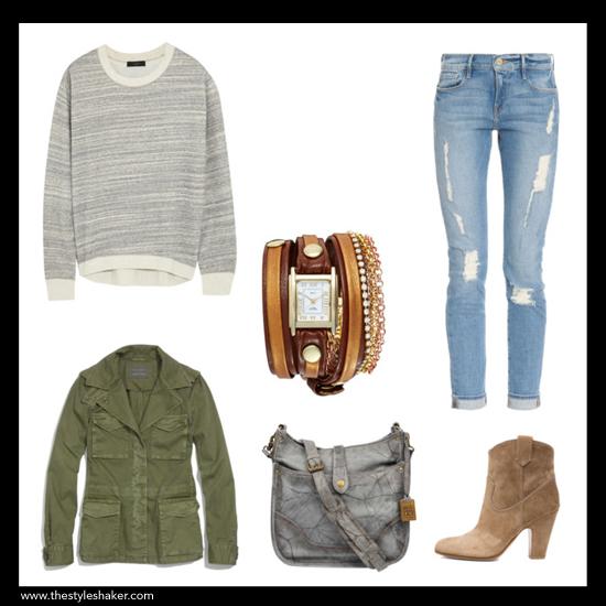 sources:   1  sweatshirt:  net-a-porter.com    2  jeans:  boutique1.com    3  jacket:  madewell.com    4  bracelet:  nordstrom.com    5  bag:  pinkmascara.com    6  boot:  forwardforward.com