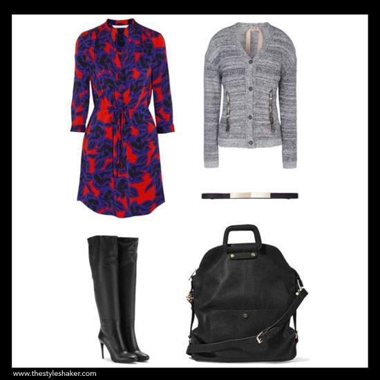 sources:  1. dress: net-a-porter.com, 2. boots: mytheresa.com, 3. cardigan: thecorner.com, 4. belt: express.com, 5. bag: stevemadden.com