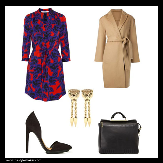 sources:  1. dress: net-a-porter.com, 2. coat: farfetch.com, 3. bag: bergdorfgoodman.com, 4. pump: nastygal.com, 5.  earrings: mytheresa.com
