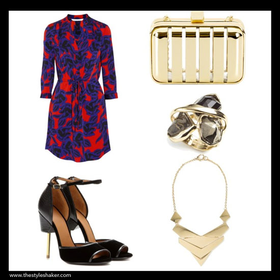 sources: 1. dress: net-a-porter.com, 2. heel: mytheresa.com, 3. clutch: cwonder.com, 4. ring: alexisbittar.com, 5. necklace: mango.com