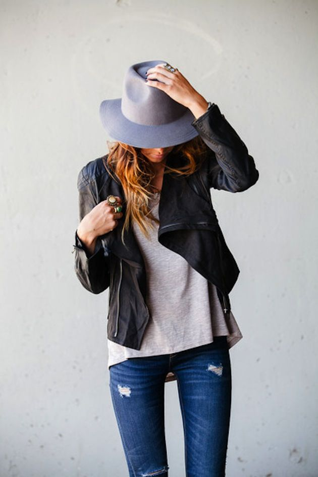 Look 1: Distressed Denim & Leather