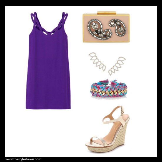How to wear a purple mini dress for Spring.