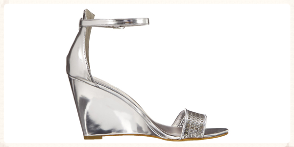 "Enzo Angiolini Silver Woven ""Raledy"" Sandal @ saksfifthavenue.com. Click to shop."