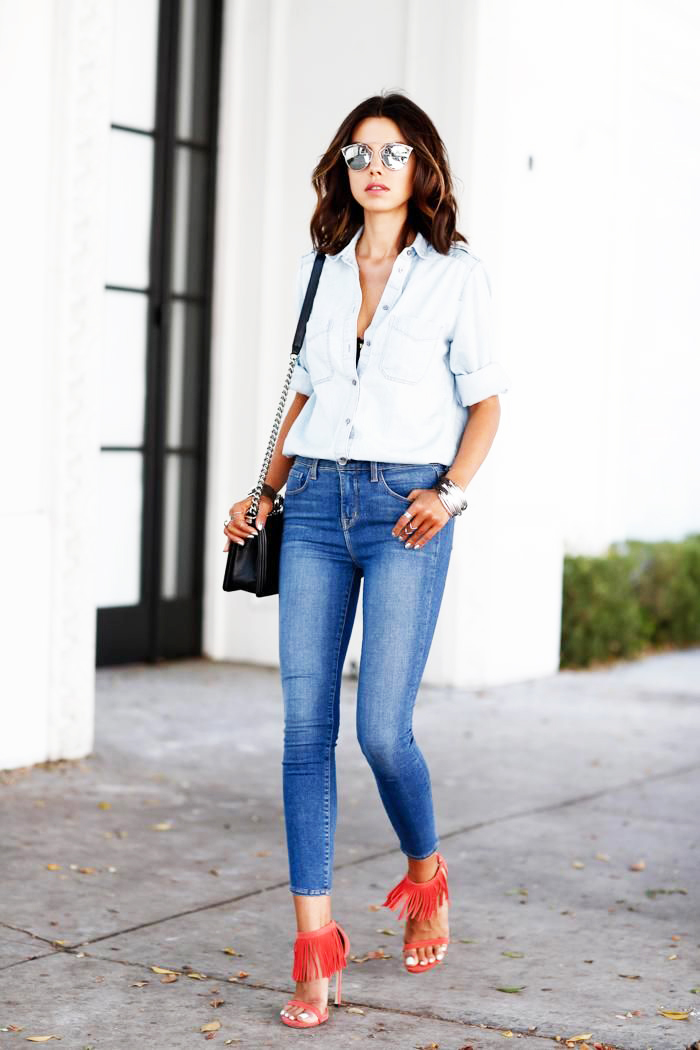 Shop the Pin: How to Wear a Chambray Shirt, Skinny Jeans ...
