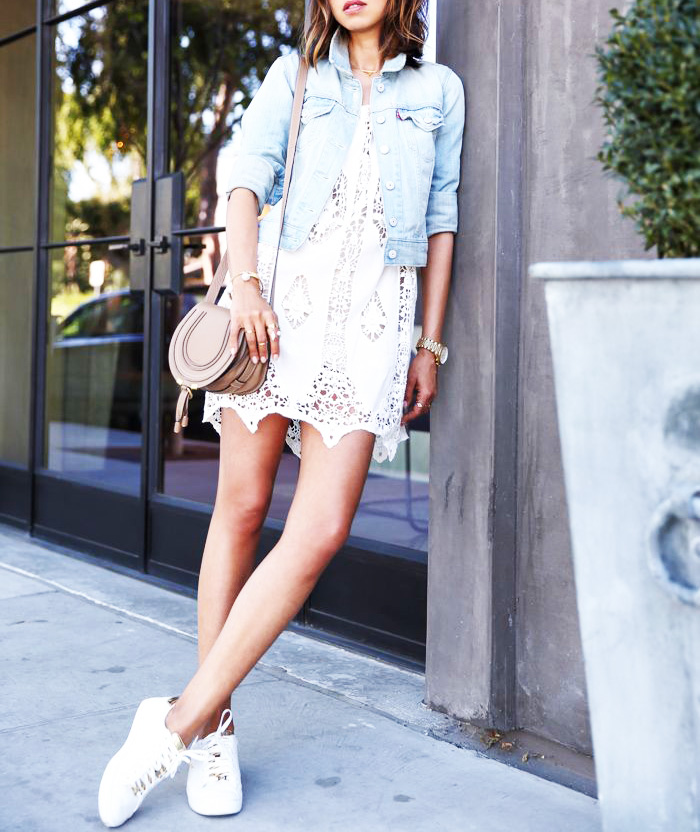 how to wear a lace dress with adidas stan smith tennis shoes for a casual brunch shop the look. Black Bedroom Furniture Sets. Home Design Ideas