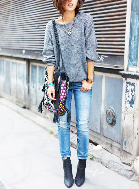 Oversized Sweater, Distressed Skinny Jeans, Black Ankle Boots, & a ...