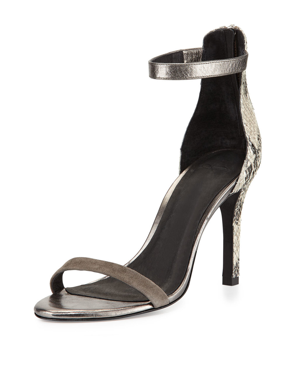 Joie Abbot Mixed-Print d'Orsay Sandal, Pewter/Cinder • $117.60 • Neiman Marcus