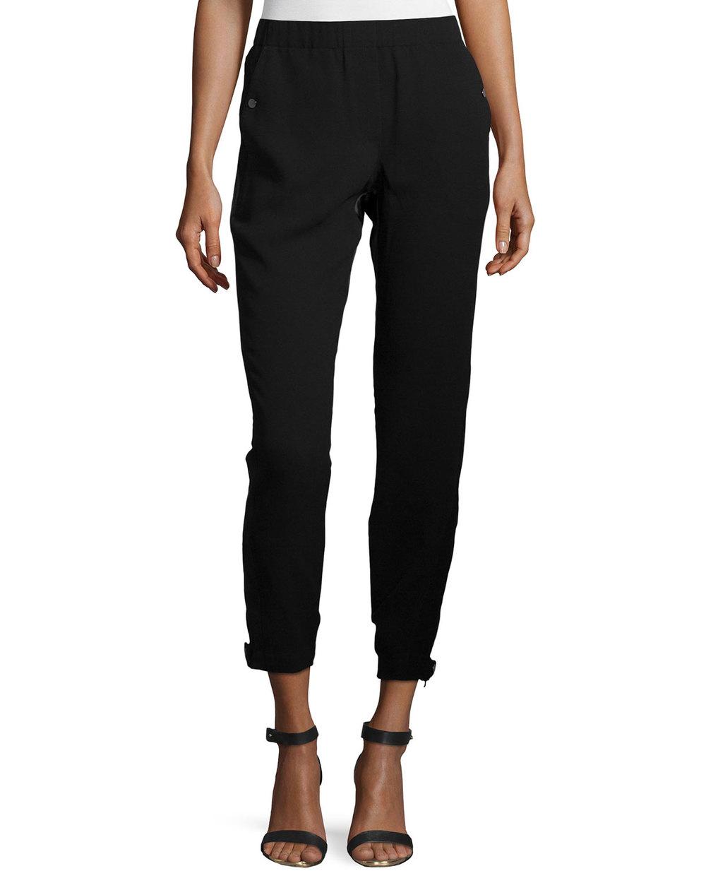 Halston Heritage Mid-Rise Combo Jogger Pants, Black • $70.40 • Neiman Marcus