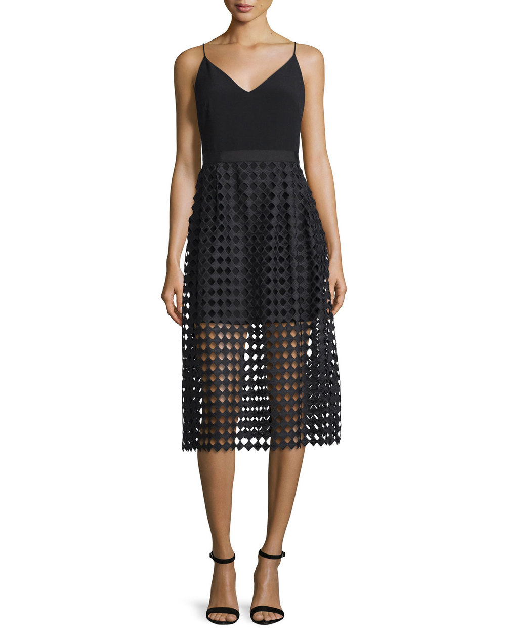 Cynthia Rowley Sleeveless Mesh-Overlay Midi Dress, Black • $190.40 • Neiman Marcus