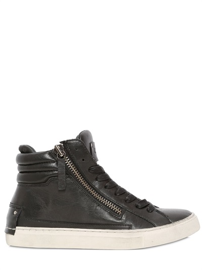 Zipped Leather High Top Sneakers • $147 • LUISAVIAROMA