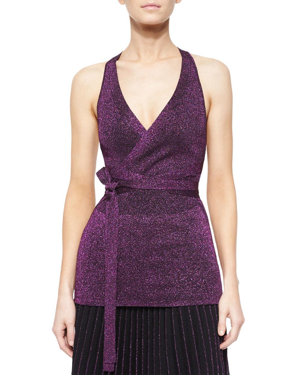 Ohne Titel Metallic Knit Tie-Waist Top, Magenta • $76.80 • Neiman Marcus